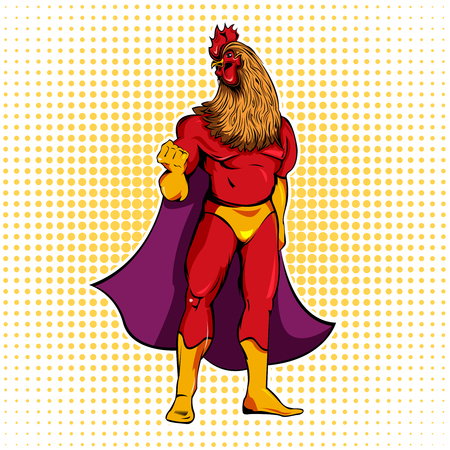 Comic superhero template with rooster head in purple cape on yellow halftone background vector illustration