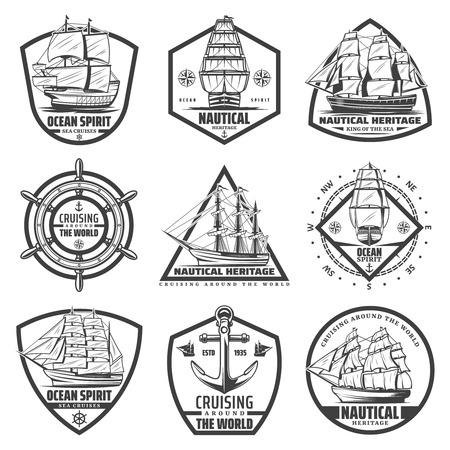 Vintage monochrome marine labels set with ships vessels boats steering wheel anchor navigational compass isolated vector illustration