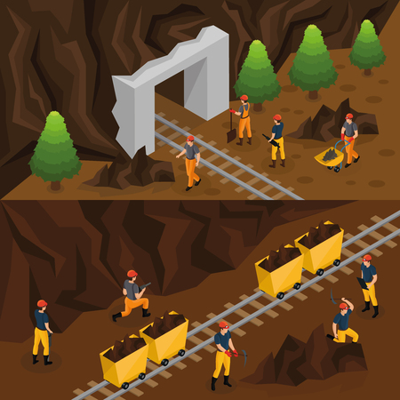 Isometric coal extraction industry horizontal banners with miners working in mine and near entrance in tunnel vector illustration Illustration
