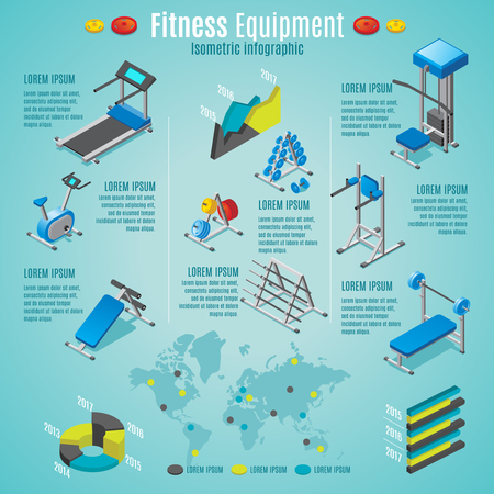 Isometric fitness equipment infographic template with treadmill stationary bike dumbbells barbells different trainers isolated vector illustration