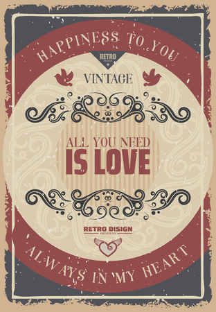 Vintage colored romantic poster with amorous inscriptions elegant decor elements on round frames vector illustration Ilustração