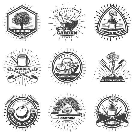 Vintage monochrome gardening logos set with agricultural equipment labor tools apple tree flowers sunbursts isolated vector illustration Illustration