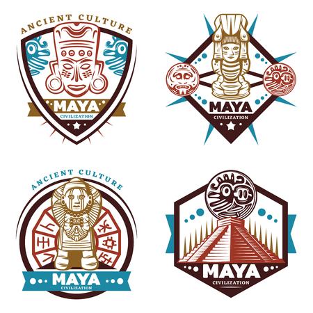 Emblemas de la civilización maya de colores vintage con máscara tribal tótems ídolos pirámide azteca calendario maya aislado ilustración vectorial Ilustración de vector