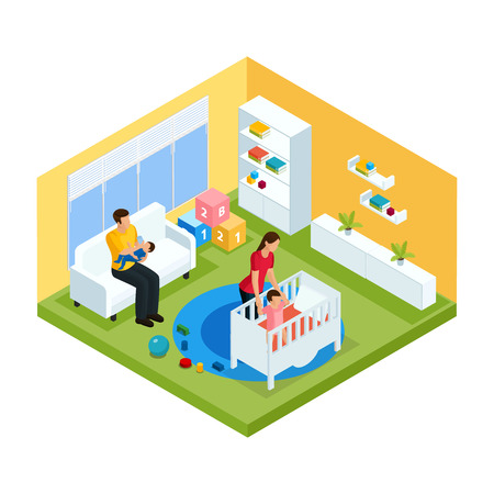 Isometric baby room interior concept with father holding kid and mother putting child in bed isolated vector illustration