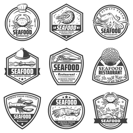 Vintage monochrome seafood labels set with crab shrimp octopus squid cuttlefish seashells lobster isolated vector illustration