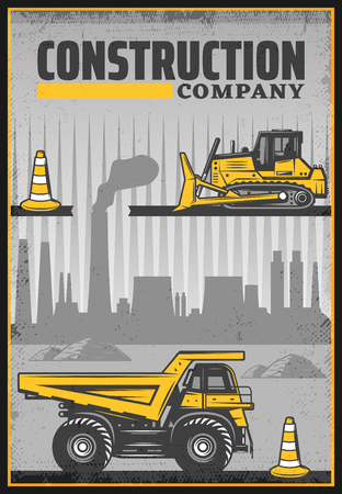 Vintage colored industrial machines poster with dump truck bulldozer traffic cones on construction site silhouette vector illustration