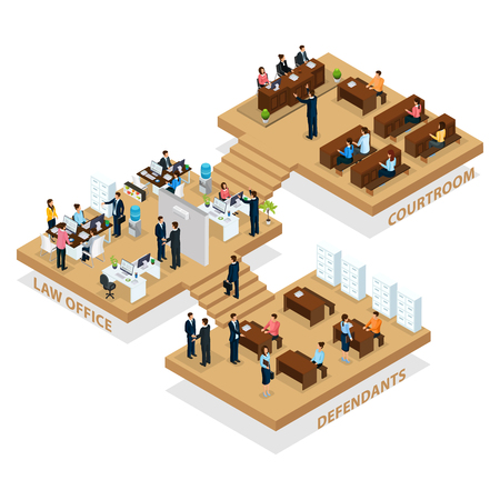 Isometric advocacy concept with people visiting law office for customer protection and lawyer protecting defendant in courtroom isolated vector illustration