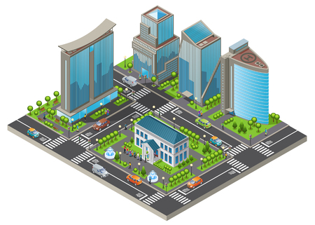 Isometric modern cityscape template with office and living buildings cars trees road people visiting museum isolated vector illustration Illustration