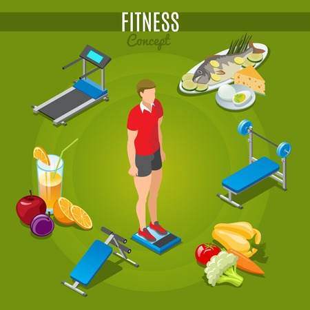 Isometric fitness concept with man standing on scales sport trainers healthy food and beverage isolated vector illustration Illustration