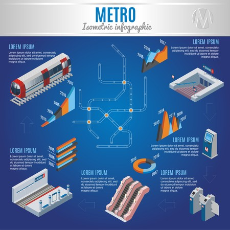 Isometric metro infographic concept with train entrance in underground subway station gate map ticket machine escalator graphs isolated vector illustration Illustration