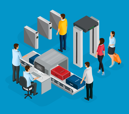 Isometric people in airport concept with passengers passing security control before flight boarding isolated vector illustration