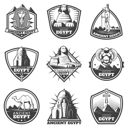 Vintage monochrome ancient Egypt labels set with pharaoh sphinx sights scarab mummy camel symbolic cross isolated vector illustration Illustration