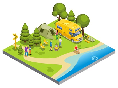 Isometric camping concept with people cooking food walking fishing tent travel bus chairs sleeping bags trees river isolated vector illustration Illustration