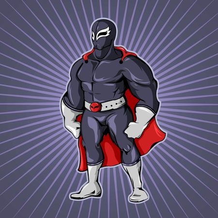 Comic superhero man template in mask with grey belt and red cape on radial background vector illustration