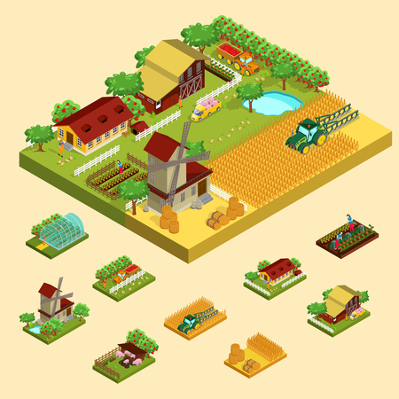 Isometric agricultural concept with farm building barn mill farmers greenhouse hay animals apple vegetables cereal harvesting isolated vector illustration