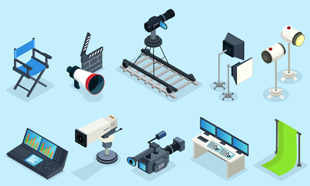 Isometric cinematography elements set with director chair different video cameras clapper projectors audio record equipment decorations isolated vector illustration