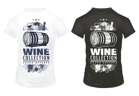 Vintage wine prints template on shirts with inscription bottles wineglasses wooden barrel of alcoholic beverage grape bunches corkscrew isolated vector illustration