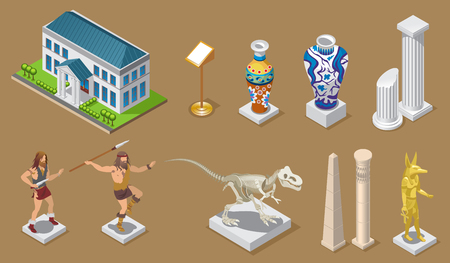 Isometric museum icons collection with building ancient vases columns egyptian constructions primitive people dinosaur pharaoh exhibits isolated vector illustration