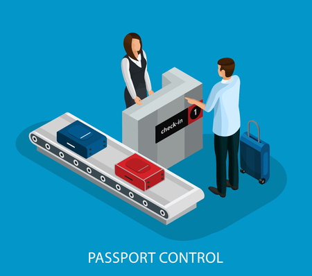 Isometric customs control in airport concept with tourist passing passport and baggage check isolated vector illustration