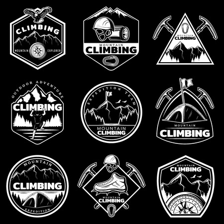 Vintage white mountain climbing logos set with inscriptions climber equipment nature landscape on black background isolated vector illustration Illustration