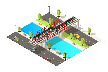 Isometric colorful railway transportation concept with cars scooter and passenger train moving across river on bridge isolated vector illustration
