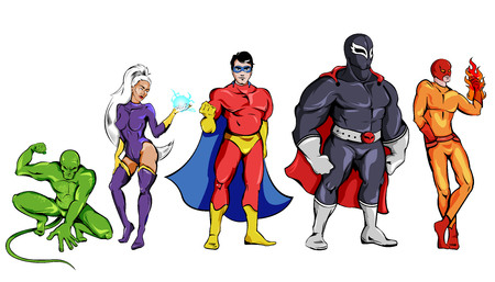 Comic superheroes Set including squatting monster woman defenders in capes man with burning hand isolated vector illustration