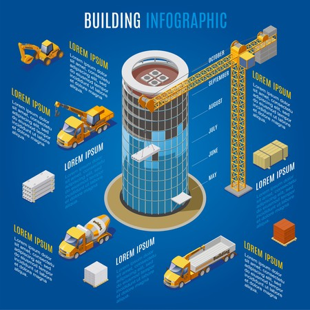 Isometric modern building infographic concept with construction cranes materials and industrial vehicles isolated vector illustration