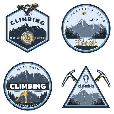 Vintage colored mountain climbing emblems set with inscriptions eagle tent pickaxes metal carabiner on nature landscape isolated vector illustration