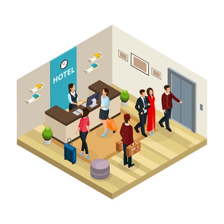 Isometric reception service hotel concept with employees and receptionist registers visitors isolated vector illustration