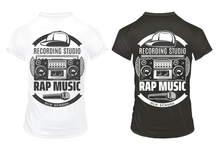 Vintage rap music prints template with inscriptions recorder microphone cap on black and white shirts isolated vector illustration