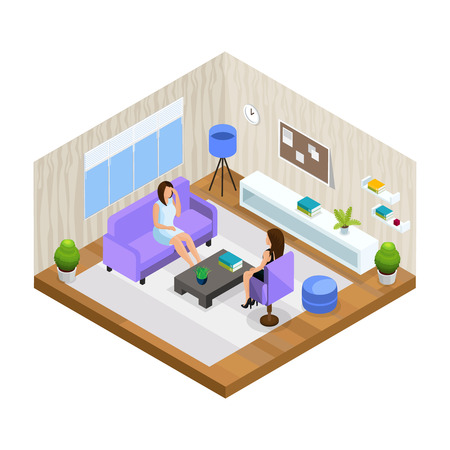 Professional support in stressful situations template with woman visiting psychologist in isometric style isolated vector illustration Ilustração