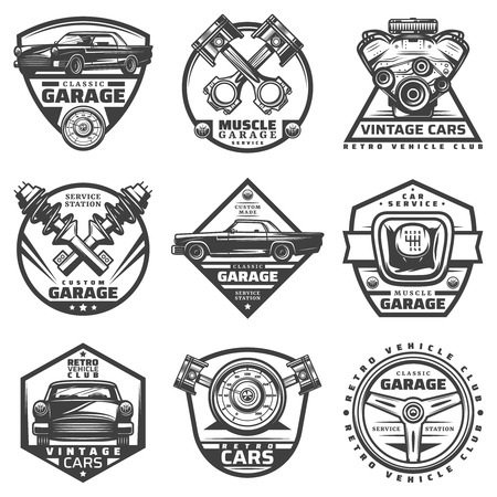 Vintage car repair service labels set with inscriptions and automobile components details parts in monochrome style isolated vector illustration