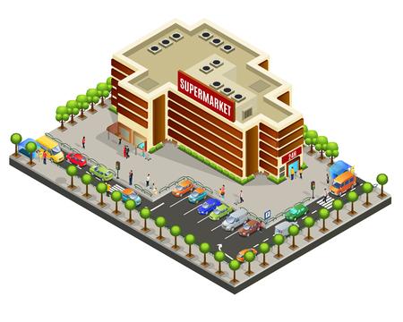 Isometrische supermarkt gebied concept met modern gebouw klanten auto's parkeren oversteekplaatsen banken en bomen geïsoleerde vectorillustratie