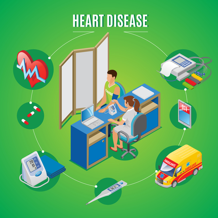 Isometric heart health monitoring concept with patient visits doctor pills tonometer electronic thermometer ambulance emergency call vector illustration Banque d'images - 103241347