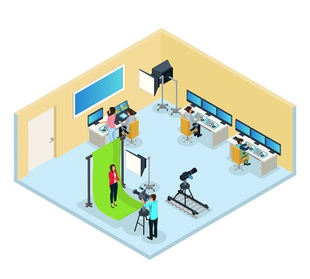 Isometric TV program making concept with operator reporter workers editing video and audio isolated vector illustration