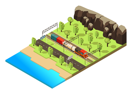 Isometric railroad transportation concept with freight train or locomotive moving through forest isolated vector illustration Illustration
