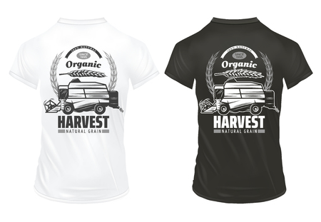 Vintage natural organic grain prints template with inscriptions wheat ears harvesting vehicle on shirts isolated vector illustration Foto de archivo - 103241353