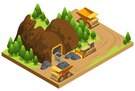 Isometric coal extraction industry template with dump trucks transporting resources and bulldozer working near mine isolated vector illustration