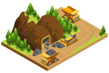 Izometryczny szablon przemysłu wydobycia węgla z wywrotkami transportującymi zasoby i spychacz pracujący w pobliżu kopalni na białym tle ilustracji wektorowych