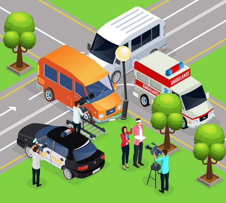 Isometric reportage shooting template with film crew making report from scene of accident vector illustration