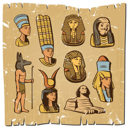 Vintage colored ancient egyptian elements collection with god goddesses pharaoh sphinx on parchment paper isolated vector illustration Иллюстрация