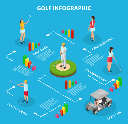 Isometric golf game infographic concept with cart golfers wearing sport clothing and holding clubs isolated vector illustration
