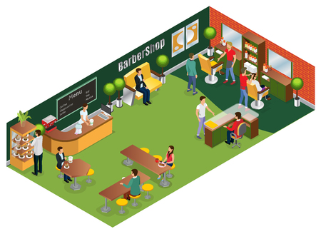 Isometric barber salon concept with hairdressers customers interior elements and coffee shop isolated vector illustration