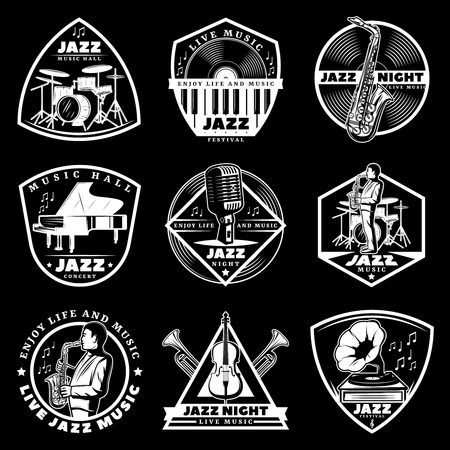 Vintage white jazz music labels set with letterings and musical instruments on black background isolated vector illustration