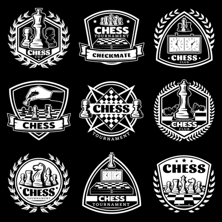 Vintage white chess logos set for tournament competition with figures chessboards clocks on black background isolated vector illustration