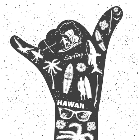Surfing black hand as a gesture Shaka with isolated icon set on surf theme vector illustration