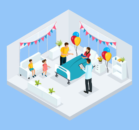 Isometric newborn concept with father kids and doctor congratulate mother with child birth in clinic isolated vector illustration