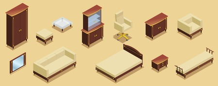 Isometric hotel furniture elements set with cabinet sofa bed tables chairs nightstand commode armchair mirror isolated vector illustration