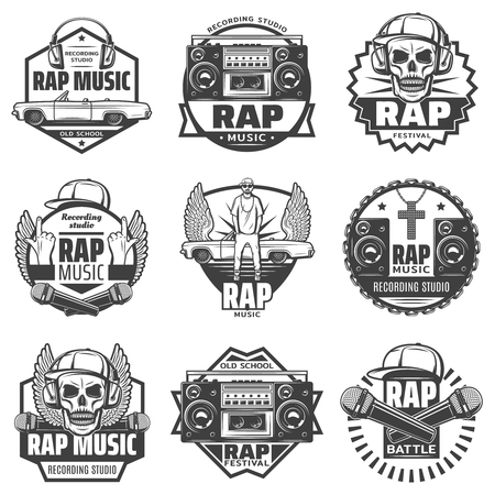 Vintage monochrome rap music labels set with rapper microphones headphones car loudspeaker boombox cap skull chain necklace isolated vector illustration Иллюстрация