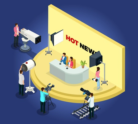 Isometric telecast videotaping concept with different workers shoot news using cameras and lightning equipment isolated vector illustration